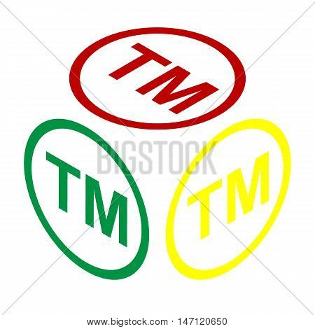 Trade Mark Sign. Isometric Style Of Red, Green And Yellow Icon.