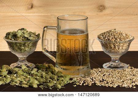 A mug of cold beer, hops and malts