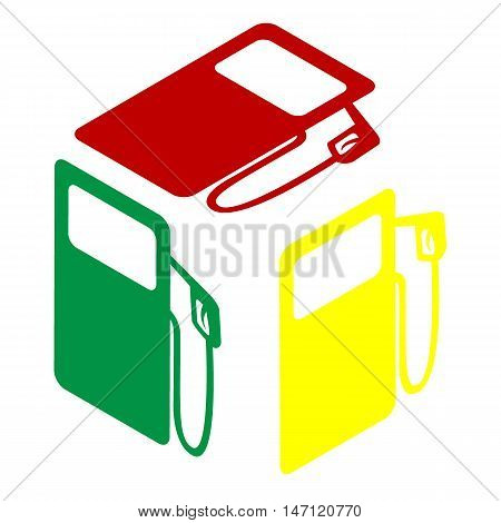 Gas Pump Sign. Isometric Style Of Red, Green And Yellow Icon.