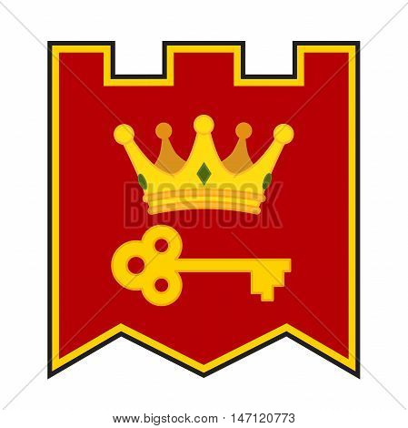 Golden crown and key on coat of arms. Made in cartoon style. Vector royal flag for kings, knights and medieval.