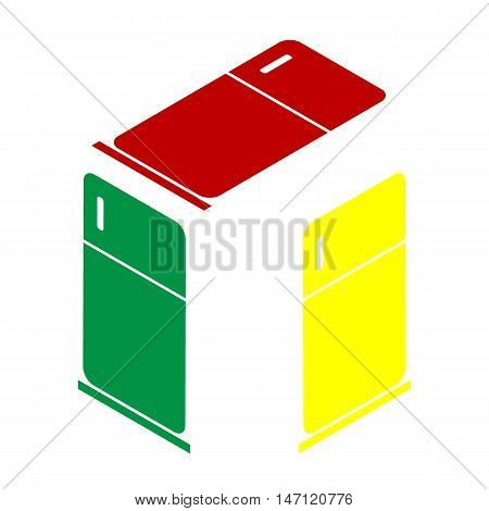 Refrigerator Sign Illustration. Isometric Style Of Red, Green And Yellow Icon.