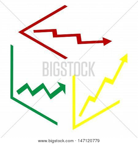 Growing Bars Graphic Sign. Isometric Style Of Red, Green And Yellow Icon.