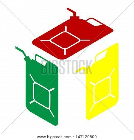 Jerrycan Oil Sign. Jerry Can Oil Sign. Isometric Style Of Red, Green And Yellow Icon.