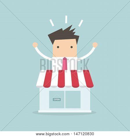Businessman standing behind the shop vector illustration