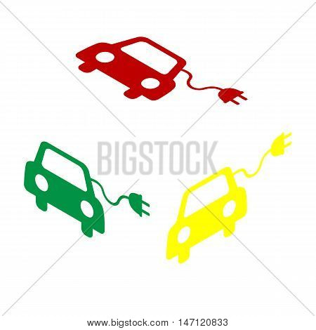 Eco Electric Car Sign. Isometric Style Of Red, Green And Yellow Icon.