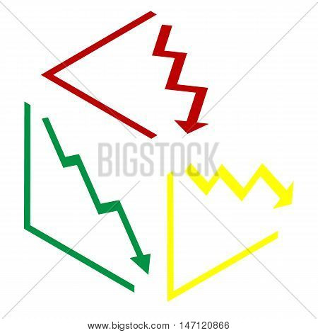 Arrow Pointing Downwards Showing Crisis. Isometric Style Of Red, Green And Yellow Icon.