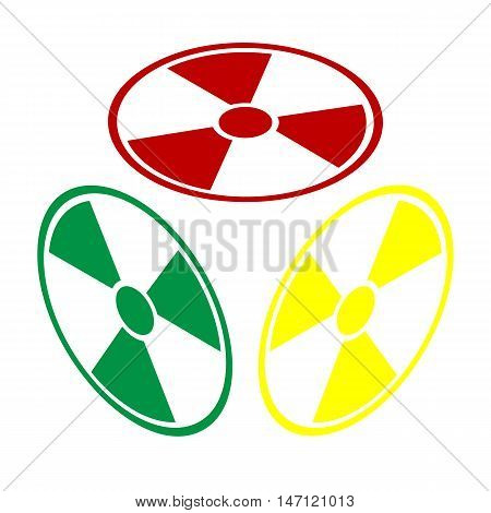 Radiation Round Sign. Isometric Style Of Red, Green And Yellow Icon.
