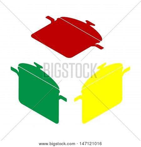 Cooking Pan Sign. Isometric Style Of Red, Green And Yellow Icon.