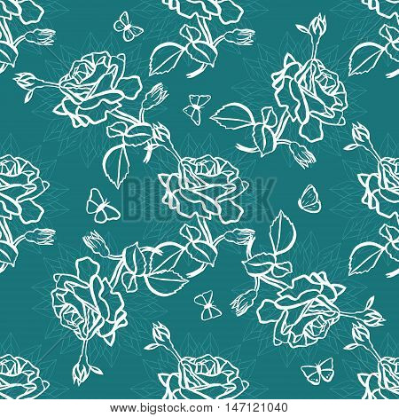 Abstract seamless background pattern with freehand ink drawings of rose flowers and buds, with leaves and butterflies, on stylized natural shapes. Scalable vector graphic on dark blue green background
