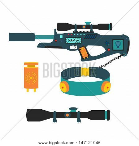 Laser tag game vector set in flat style. Laser gun, optical sight, built-in rumble feedback controller, LCD display, trigger, wristband, attachment rail, buttons and Wi-Fi system for laser game.