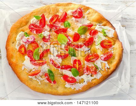 Focaccia With Tomatoes, Cream Cheese And Basil
