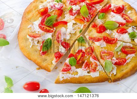 Focaccia With Tomatoes, Cream Cheese And Herbs