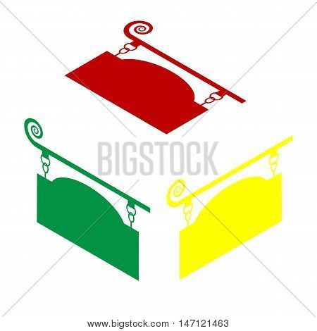 Wrought Iron Sign For Old-fashioned Design. Isometric Style Of Red, Green And Yellow Icon.