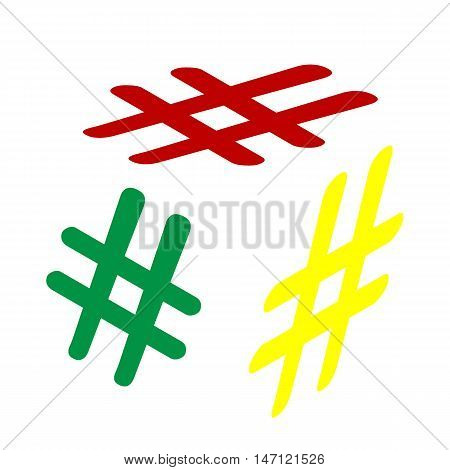 Hashtag Sign Illustration. Isometric Style Of Red, Green And Yellow Icon.