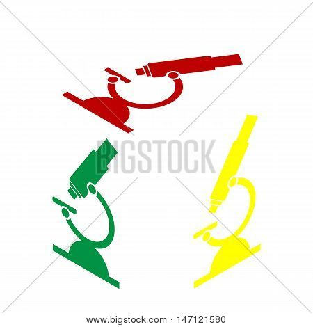 Chemistry Microscope Sign For Laboratory. Isometric Style Of Red, Green And Yellow Icon.