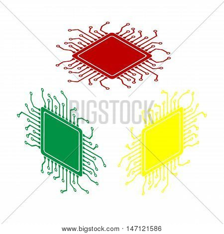 Cpu Microprocessor Illustration. Isometric Style Of Red, Green And Yellow Icon.