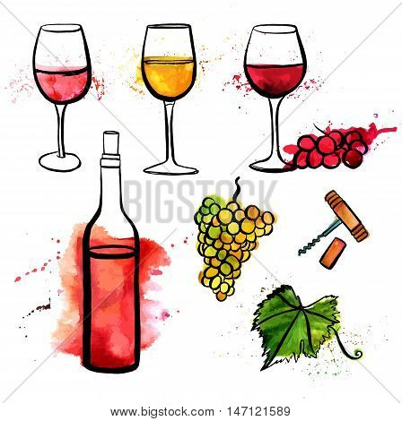 A set of vector and watercolor freehand drawings of glasses of red, white, and rose wine, with grapes and splashes of paint, bottle, corkscrew, and vine leaf, on white background