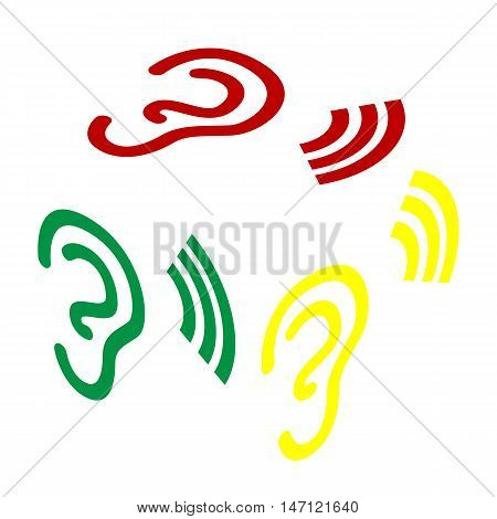 Human Ear Sign. Isometric Style Of Red, Green And Yellow Icon.