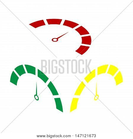 Speedometer Sign Illustration. Isometric Style Of Red, Green And Yellow Icon.