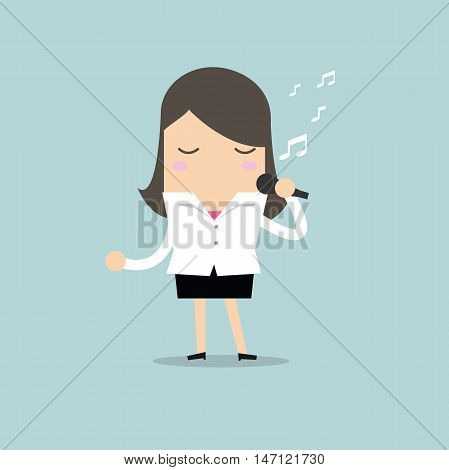 Businesswoman standing and sing a song vector illustration