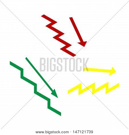 Stair Down With Arrow. Isometric Style Of Red, Green And Yellow Icon.