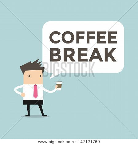 Businessman standing with coffee break vector illustration