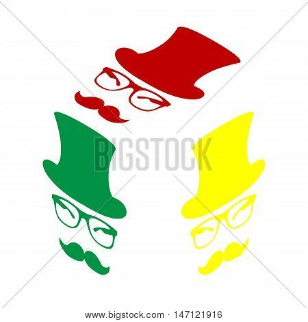 Hipster Accessories Design. Isometric Style Of Red, Green And Yellow Icon.
