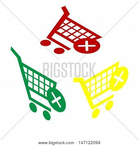 Shopping Cart With Delete Sign. Isometric Style Of Red, Green And Yellow Icon.