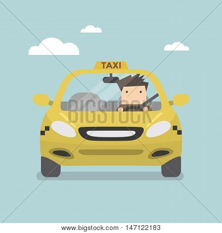 Yellow taxi car and taxi driver vector
