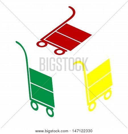 Hand Truck Sign. Isometric Style Of Red, Green And Yellow Icon.