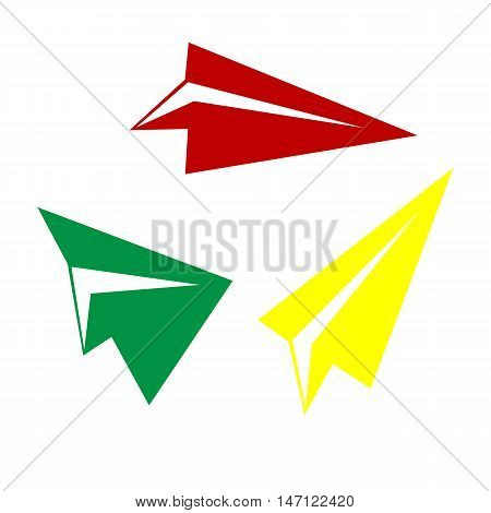 Paper Airplane Sign. Isometric Style Of Red, Green And Yellow Icon.