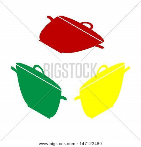 Saucepan Simple Sign. Isometric Style Of Red, Green And Yellow Icon.