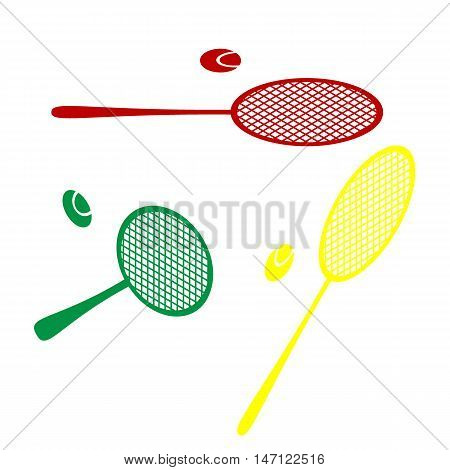 Tennis Racquet Sign. Isometric Style Of Red, Green And Yellow Icon.