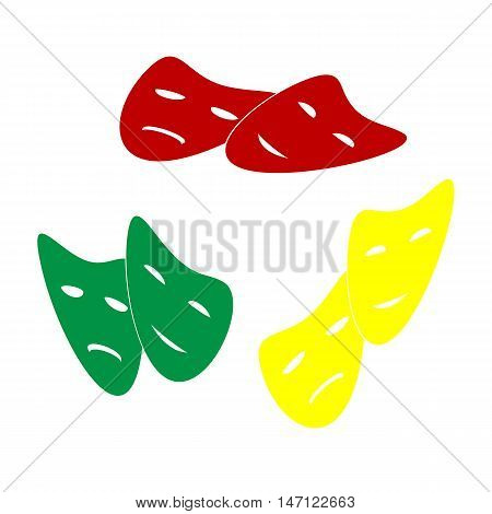 Theater Icon With Happy And Sad Masks. Isometric Style Of Red, Green And Yellow Icon.