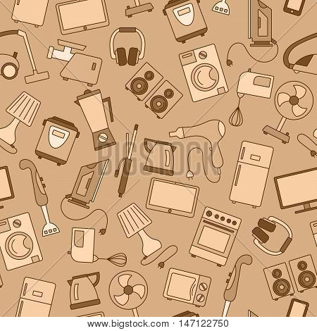 Seamless background with a simple icons on the topic of household appliances gamma beige, vector