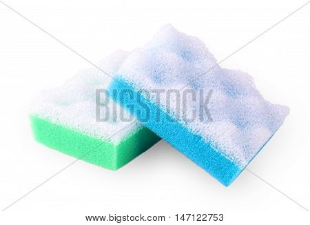 Green and blue squire bath spongeon white