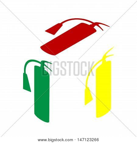 Fire Extinguisher Sign. Isometric Style Of Red, Green And Yellow Icon.