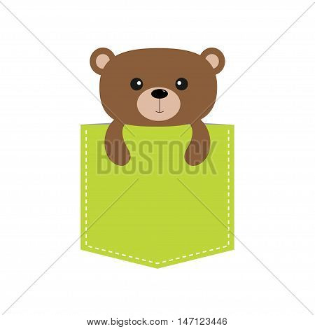 Bear in the pocket. Cute cartoon character. Dash line. Forest animal collection. T-shirt design. White background. Isolated. Flat Vector illustration