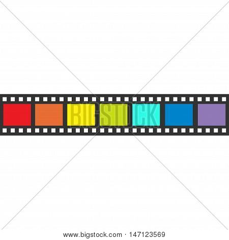 Rainbow flag Film strip frame. Straight shape ribbon. Design element. White background. LGBT Gay movie cinema sign symbol. Isolated. Flat. Vector illustration