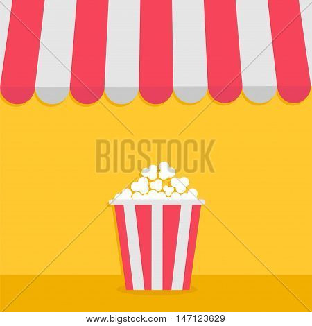 Striped store awning for shop marketplace cafe restaurant. Red white canopy roof. Popcorn big box. Cinema icon. Flat design. Yellow background. Isolated. Vector illustration