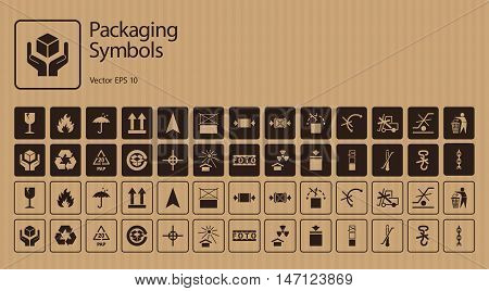 Vector packaging symbols on cardboard background. Icon set including Waste recycling, Fragile, Flammable, This side up, Handle with care, Keep dry, Protect from radiation and other handling symbols.
