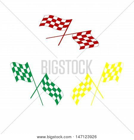 Crossed Checkered Flags Logo Waving In The Wind Conceptual Of Motor Sport. Isometric Style Of Red, G