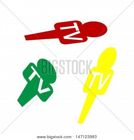 Tv Microphone Sign Illustration. Isometric Style Of Red, Green And Yellow Icon.