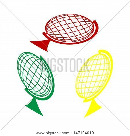 Earth Globe Sign. Isometric Style Of Red, Green And Yellow Icon.