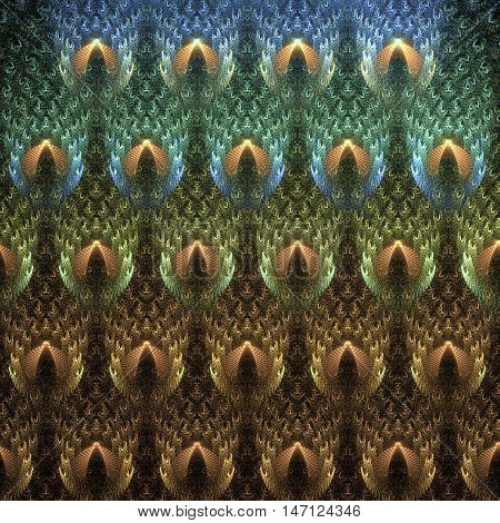 Abstract fractal peacock feathers. Computer-generated fractal. Peacock feathers in blue green and golden colors.