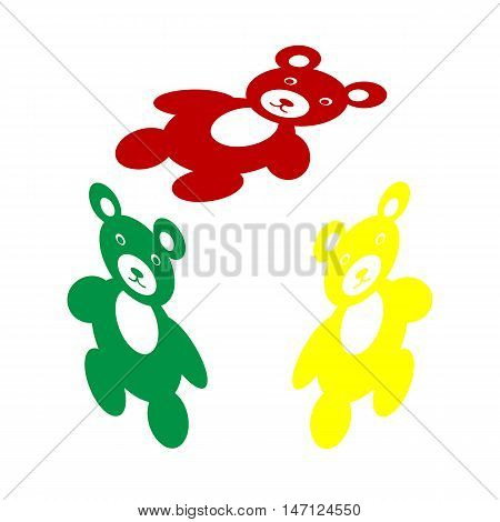 Teddy Bear Sign Illustration. Isometric Style Of Red, Green And Yellow Icon.