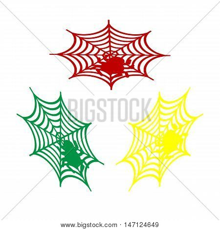 Spider On Web Illustration Isometric Style Of Red, Green And Yellow Icon.
