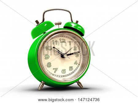 Retro alarm clock with green body and numbers