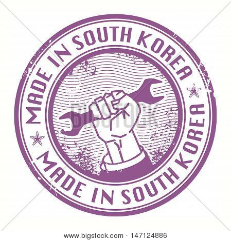 Grunge rubber stamp with words Made in South Korea inside, vector illustration