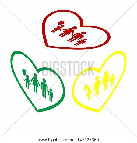Family Sign Illustration In Heart Shape. Isometric Style Of Red, Green And Yellow Icon.
